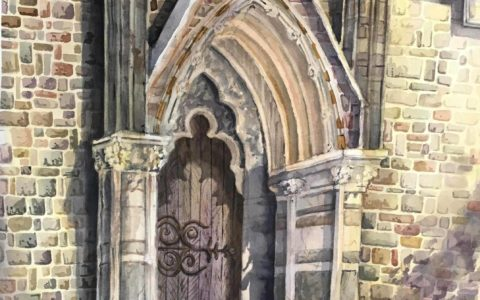akwarela krakow warsztaty, brama kościoła obraz akwarelowy, kurs akwareli w krakowie