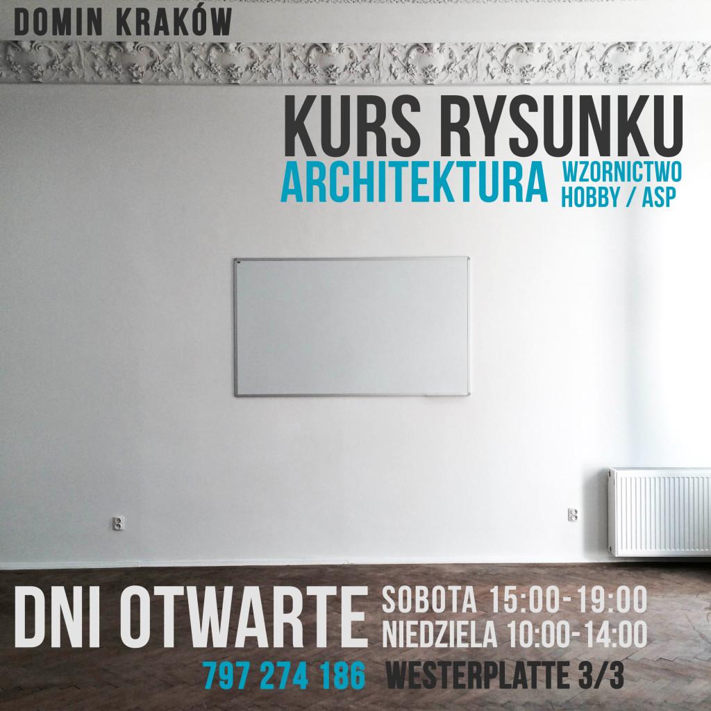 dni otwarte DOMIN, kurs rysunku, architektura, wzornictwo, hobby, ASP, najlepszy kurs rysunku w Krakowie