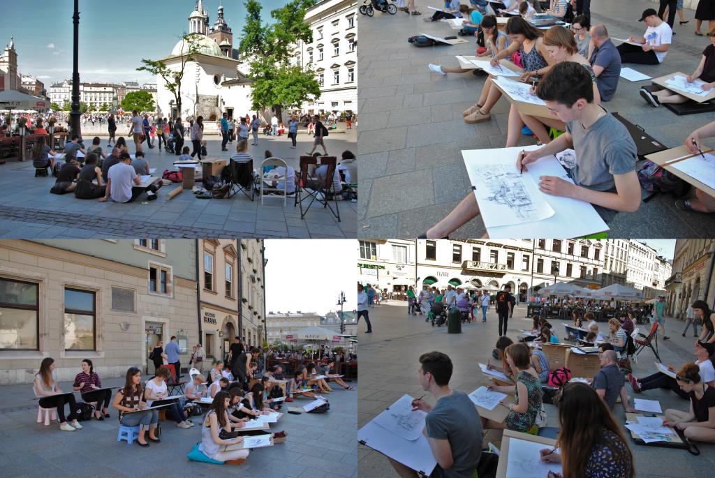 plenery rysunkowe, wakacyjny kurs rysunku, aktywne kreatywne wakacje, kościół św Wojciecha w Krakowie