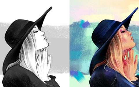 portret digital painting, kurs photoshopa w krakowie, game design, postać komiksowa, jak narysować twarz z profilu