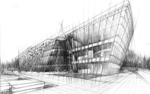 projekt muzeum rysunek, temat egzaminu z rysunku, nauka cieniowania szkła, projektowanie architektury na rysunku