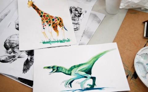 rysunek hobby kurs rysunku hobbystycznego, nauka rysunku dla początkujących kraków, rysowanie zwierząt, zwierzęta akwarelami, rysunek dinozaura