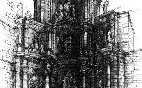 kurs rysunku architektonicznego, rysunek kościoła, rysunek cienkopisem, nauka rysunku architektury historycznej, brama żelaznych drzwi w Walencji, rysunek Katedry w Walencji