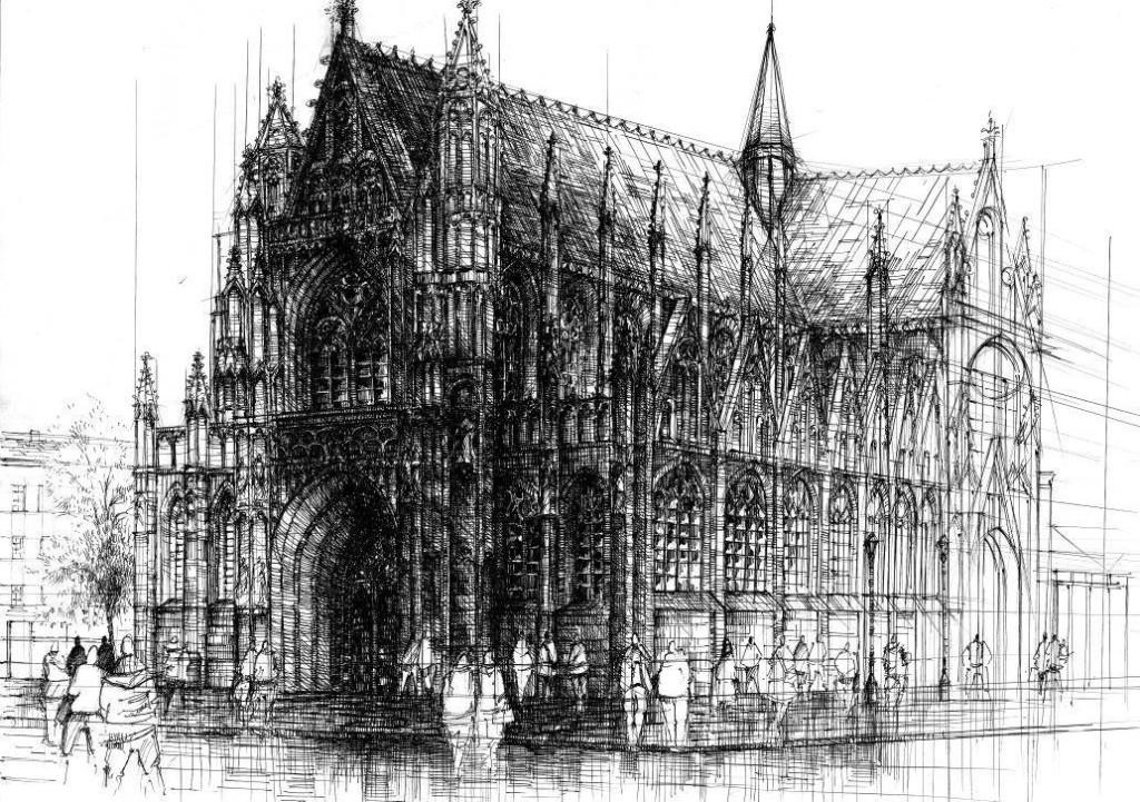 rysunek kościoła cienkopisem, rysunkowe wstawiacze, kurs rysunku w Krakowie, rysunek architektoniczny
