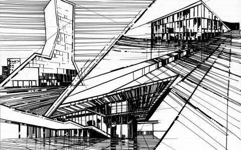 dynamiczny rysunek architektoniczny, rysunek markerami, promarker i brushmarker, plansza architektoniczna, rysunek architektury współczesnej, architektura nowoczesna, jak narysować szkło markerem