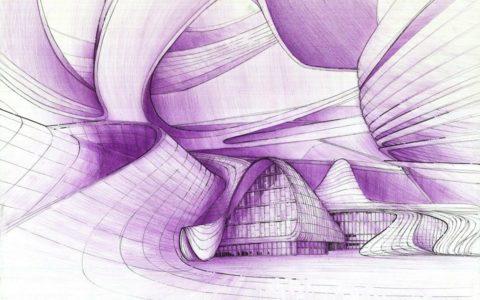 rysunek architektura zaha hadid, plansza rysunkowa architektury nowoczesnej, rysunek projektu zaha hadid
