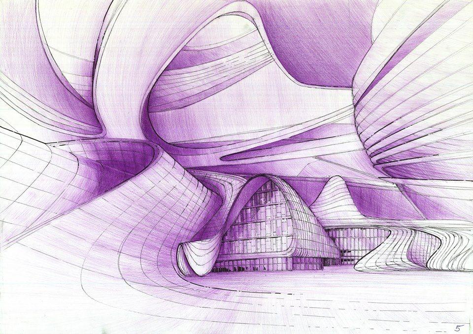 plansza architektoniczna, rysunek architektoniczny kredką, kurs rysunku architektury współczesnej, rysunek kredką, rysunek abstrakcyjny,