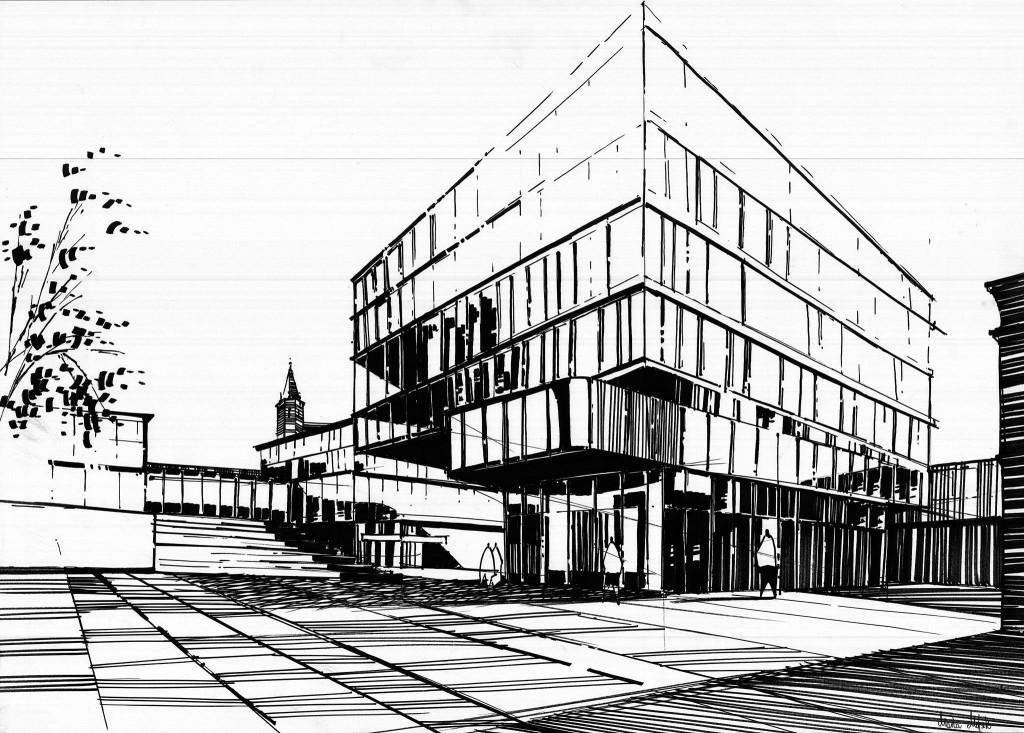 rysunek szklanego budynku, jak narysować szkło markerami, kurs rysunku architektury nowoczesnej, projektowanie budynków