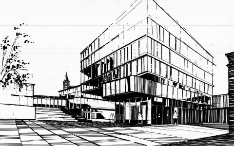 rysunek nowoczesnego budynku markerem, rysunek szklanego budynku, jak narysować szkło markerami, kurs rysunku architektury nowoczesnej, projektowanie budynków