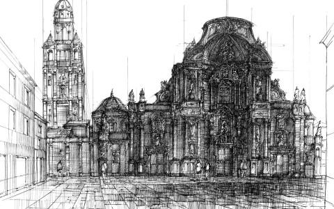 rysunek cienkopisem, rysunek placu, rysunek kościoła, nauka rysunku architektury historycznej, nauka stylów architektonicznych
