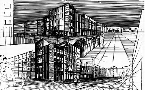 projektowanie architektury, rysunek markerami, plansza architektury nowoczesnej, współczesna urbanistyka na rysunku