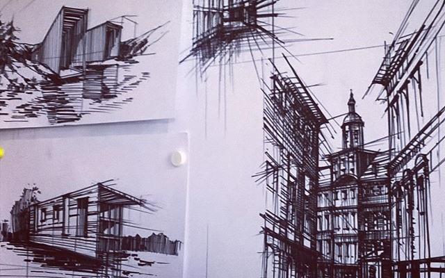 szkic architektoniczny, rysunek flamaster, nauka rysunku w Krakowie