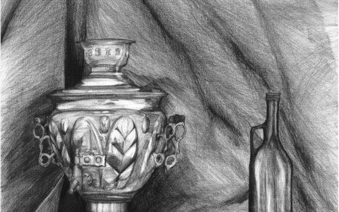martwa natura ołówkiem, nauka rysunku faktur, rysunek samowaru, cieniowanie szklanych butelek, przygotowanie na asp