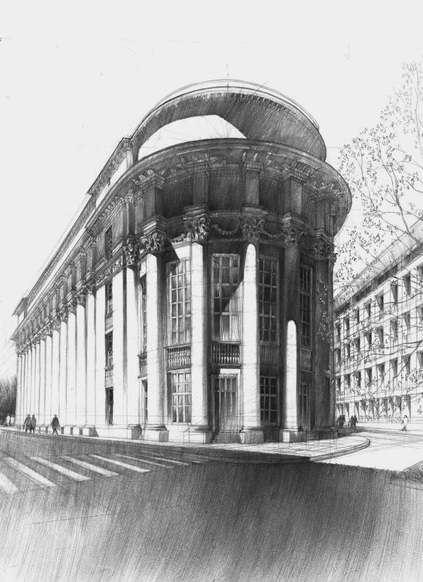 rysunek ołówkowy, nauka rysowania architektury historycznej