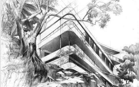 egzamin wstepny, rysunek olowkiem, projekt domu ołówkiem, dom na wzgórzu- rysunek, rysunek domu z wyobraźni, nowoczesny projekt domu na rysunku