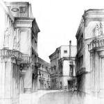 architektura historyczna kamienice rysunek