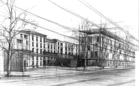 rysunek miasto, ulica, plac ołówkiem, projektowanie architektury nowoczesnej, rysunek perspektywiczny ulicy