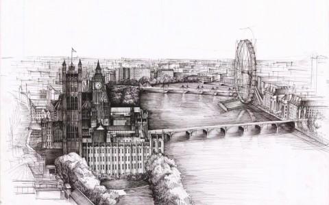 miasto z lotu ptaka, rysunek z lotu ptaka, rysunek Londynu, London Eye na rysunku, cieniowanie wody,