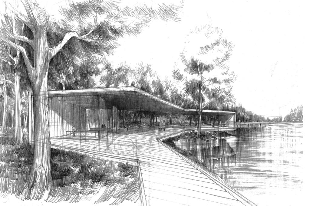 altana w parku do kontemplacji rysunek