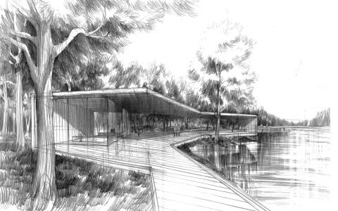 altana w parku do kontemplacji rysunek, cieniowanie wody, jak dobrze narysować zieleń, rysowanie drzew,