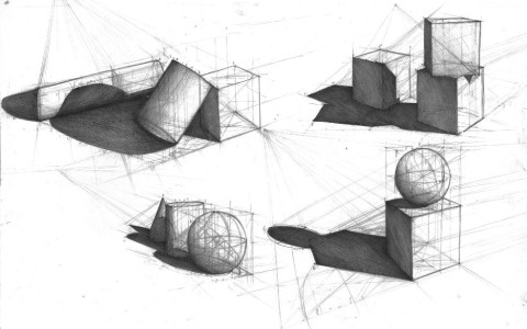 wykłady z geometrii, teorii i perspektywy na rysunku, jak skonstruować cień, nauka światłocienia, martwa natura z brył