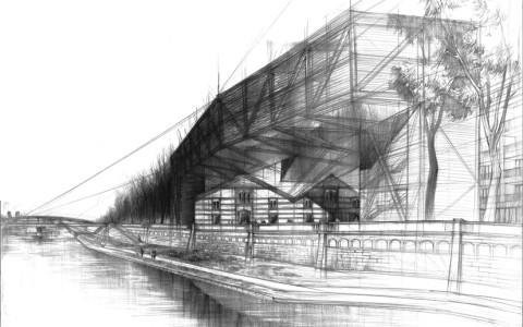 rysunek architektury Kraków, nauka rysunku w krakowie, architektura nowoczesna na rysunku, szkice architektoniczne