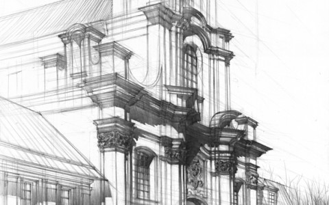 kurs rysunku architektonicznego, kurs rysunku DOMIN Kraków, rysunek kościoła ołówkiem, rysunek ołówkiem,