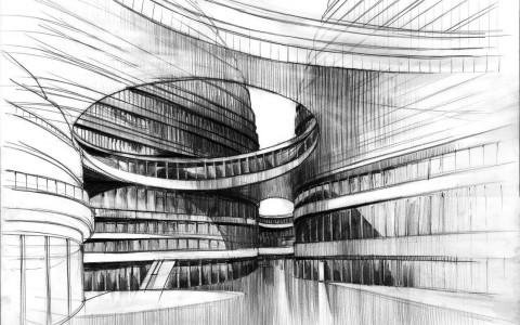 kurs rysunku nowoczesna architektura projekty, rysunek projektu zaha hadid, rysunek architektury nowoczesnej ołówkiem,