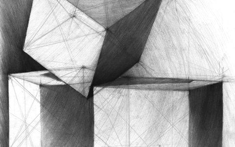 rysunek architektoczniny szesciany bryły martwa natura, nauka szrafu ołówkiem, przygotowanie na egzamin wstępny na studia architektoniczne