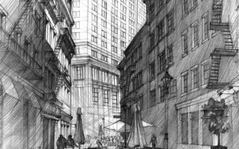 kurs projektowania architektury, rysunek nowoczesnej uliczki,rysunek ulicy ołówkiem, kurs rysunku architektonicznego w Krakowie, rysunek kamienic, rysunek wieżowca ołówkiem