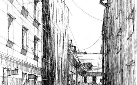 rysunek cienkopisem, rysunek uliczki, wąska uliczka, kurs rysunku architektonicznego, rysunek kamienic