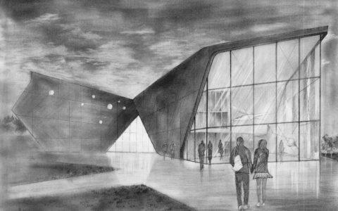 rysunek muzeum lotnictwa w krakowie, rozcierucha, kurs rysowania architektury, współczesny budynek na rysunku ołówkiem