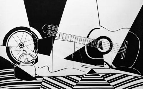 czarno-biała abstrakcja, przygotowanie teczki na asp, martwa natura