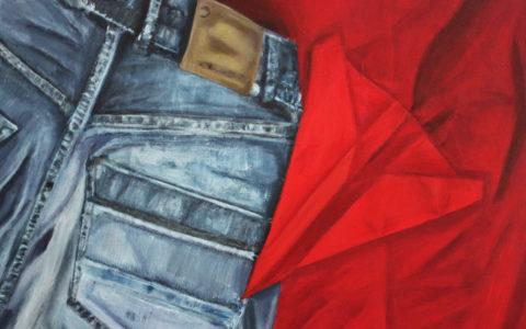 nauka malarstwa w krakowie, malowanie jeansu i innych materiałów, zgięcia i zmięcia materiałów na obrazie, kurs na asp