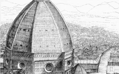 rysunkowe plenery za granicą, rysunek Florencji, nauka rysunku architektonicznego, architektura historyczna, rysunek Floerncji z lotu ptaka,