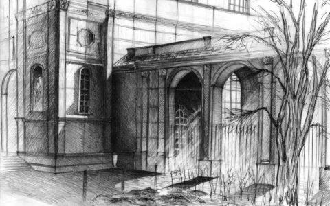 rysunek kościoła, światłocieniowanie na rysunku, nauka rysowania, kurs rysunku architektury historycznej