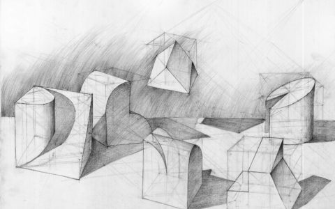 przygotowanie do egzaminów na architekturę, bryłki geometryczne, rzucanie cienia od bryłek, bryłki na podstawie widoków