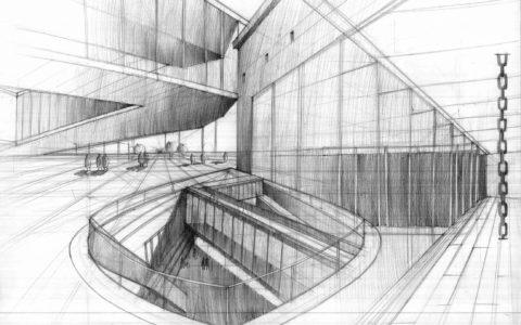 plansza architektoniczna, rysunek szkła ołówkiem, współczesna architektura, kurs rysunku Kraków,