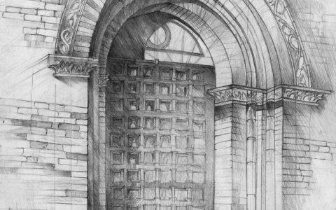 portal gotycki na rysunku, sztuka rysowania ołówkiem, architektura historyczna, kurs rysunku w Krakowie