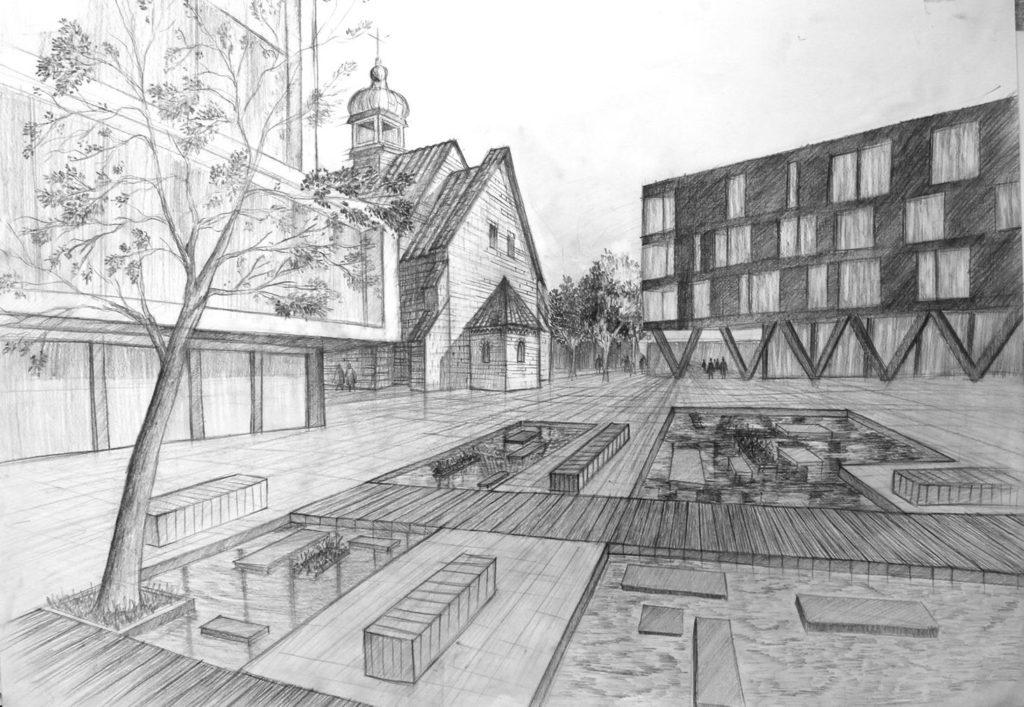 rysunek placu miejskiego