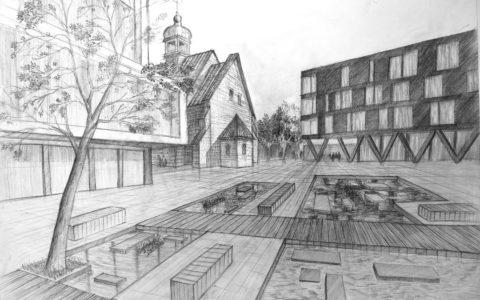 rysunek placu miejskiego, kurs rysunku architektonicznego w Krakowie, rysunek perspektywiczny, architektura mieszana,