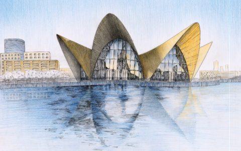 rysunek architektury współczesnej, projektowanie budynków na rysunku, kolorowy rysunek architektoniczny, kurs rysunku kraków