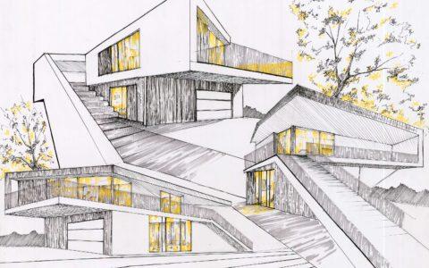 plansza architektury nowoczesnej, architektura XXI wieku, projekt domu na rysunku, jak zostać architektem