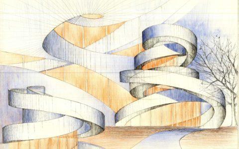 plansza architektoniczna kredkami, architektura współczesna, abstrakcja w architekturze,