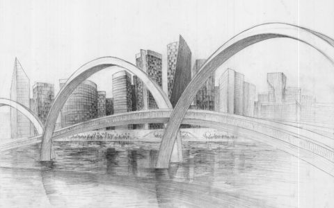 architektura współczesna rysunek ołówkiem, egzamin z rysunku na politechnikę krakowską, jak cieniować płynącą wodę, jak narysować most, panorama miasta nowoczesnego na rysunku