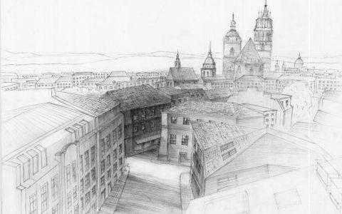 miasto z lotu ptaka, jak narysować widok z góry, architektura historyczna, kurs rysunku architektonicznego w Krakowie