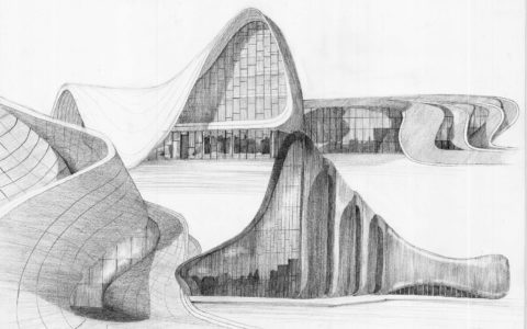 plansza architektoniczna projektów Zaha Hadid, architektura nowoczesna, współczesne budynki na rysunku, najciekawsze budynki świata, jak narysować szkło, kurs rysunku w Krakowie