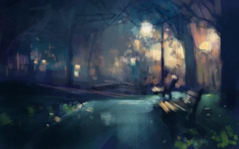rozmyty obraz nocy digital painting, widok parku nocą na rysunku, concept art, kurs digital painting w krakowie