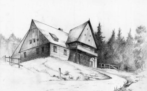 krajobraz wiejski, chatka wiejska w lesie, rysunek domku na wsi, drewniana chatka, jak rysować drewno ołówkiem, jak narysować drzewa w tle