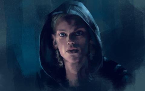 quick sketch, szybki szkic digital painting, portret w photoshopie, postać w kapturze, zachowanie proporcji twarzy